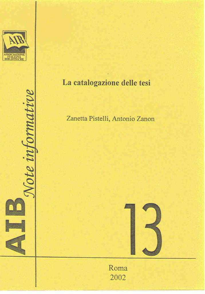 La catalogazione delle tesi
