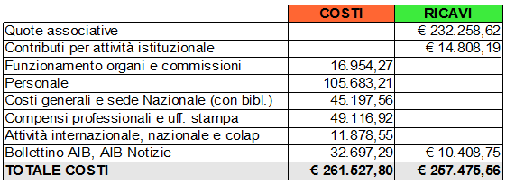 Confronto costi-ricavi 2011