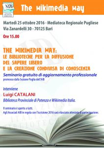 Locandina seminario Aib Puglia 25 ottobre 2016