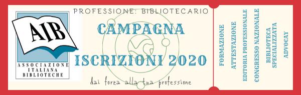 Professione: bibliotecario. Campagna iscrizioni 2020