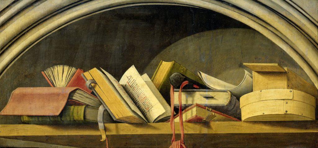 Natura morta con libri, Barthélémy d'Eyck, 1442 – 1445, messa a diposizione dal Rijksmuseum